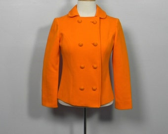 Vintage 1960s Orange Double Breasted Jacket - 60s Cool Mod Women's Jacket