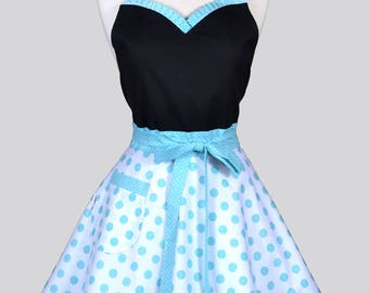 Sweetheart Pinup Womans Apron . Aqua White Polka Dots Retro Vintage Inspired Cute Flirty Hostess Kitchen Apron to Monogram