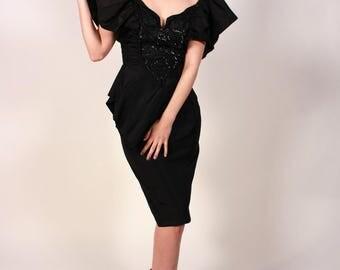 Vintage 80's Black Sequined Off The Shoulder Prom Dress