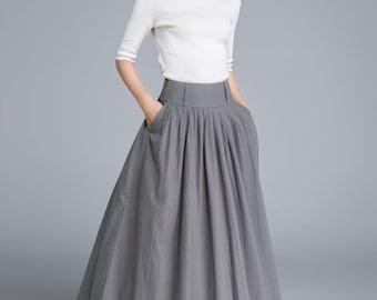 Circle skirt maxi skirt linen skirt olive green skirt full