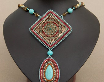 Bead Embroidered Turquoise Necklace with a Filigree