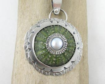 Green Sea Urchin Pearl Sterling Silver Pendant Necklace