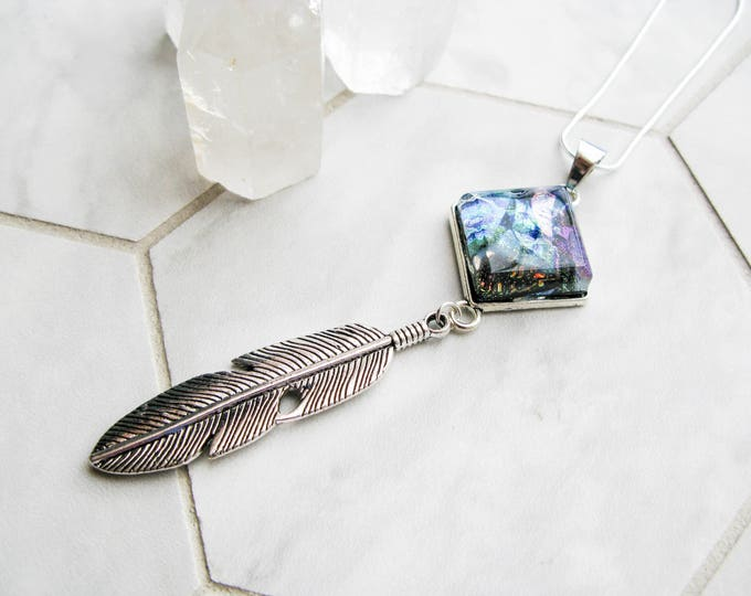 Feather necklace, Diamond rainbow dichroic glass necklace with silver feather pendant, Boho pendant, Nature inspired vibrant necklace.