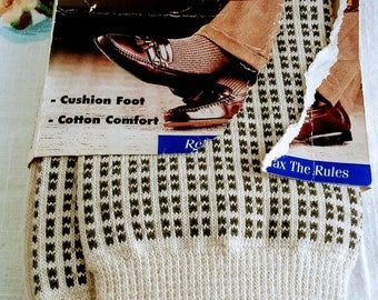 Vintage Men's Prima Casual Cotton Knit Socks, Beige and Brown, NEW, 10-13