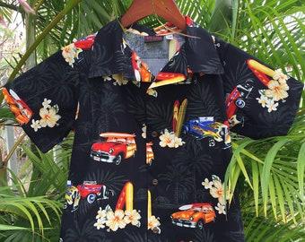 Boys Handmade Hawaiian Aloha Shirt Surf woody cars 6mo to 11/12