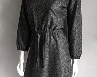 Vintage Women's 70's Disco Dress, Black, Silver, Metallic, Long Sleeve (S)