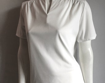 Vintage Women's 70's White Blouse, Polyester, Short Sleeve by Blair (M/L)