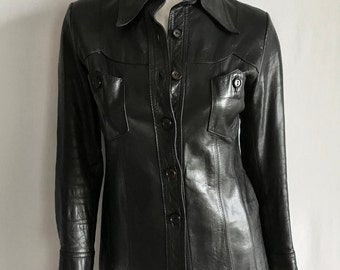 Vintage Women's 70's Leather Jacket, Black, Button Down, Butterfly Collar (S)