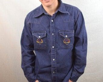 WOW Vintage 1970s Embroidered 70s Rare OOAK Mushroom Dark Denim Pearl Snap Shirt