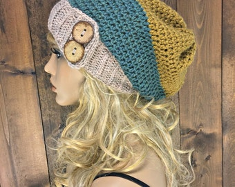 Crochet Slouch Hat Toque Beanie with Coconut Buttons / PACIFIC / Ravine