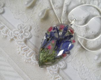 Blue Lobelia, Pink Veronica,Sweet Yellow Clover Glass Teardrop Pressed Flower Pendant-Nature's Art-Symbolizes Loyalty,Faithfulness