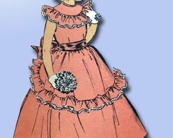1940s Vintage Advance Sewing Pattern 5170 Uncut Girls Dress or Gown Size 10 28B