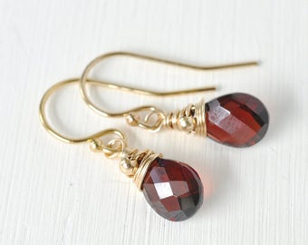Dainty Garnet Earrings Gold Fill / Small Garnet Dangle Earrings / January Birthstone Earrings / Gold Fill OR Sterling Silver