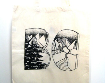 BC Tote. Mountains Tote. Natural Canvas Bag. Canada Bag. Grocery Bag. Carry All Bag. Market Bag. Victoria BC Tote Bag.