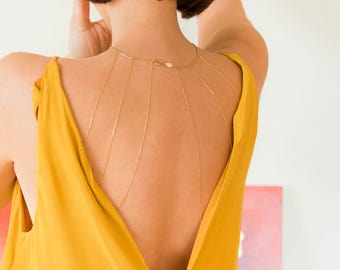 Gold Back Body Chain | Dainty Back Chain | Rose Gold Body Chain | Dainty Back Jewelry | Gold Body Chain | Layered Back Necklace | Backdrop