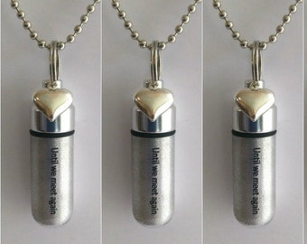 """Set of 3 ENGRAVED Brushed Silver Cremation Urn Necklaces """"Until we meet again"""" with Puffed Heart - with 3 Velvet Pouches, 3 Chains, Fill Kit"""