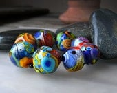 Freecolor Rocks - 8 freestyle lampwork beads - Glass Art by Michou P. Anderson (Brand: Sonic & Yoko)