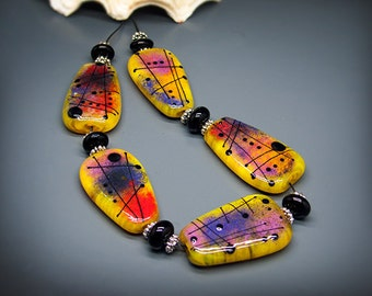 Michou Pascale Anderson - Sedona Sunset -  Modern Glass Art - Lampwork glass bead set