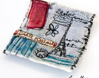 Eiffel Tower Art Pin Paris - Original Fiber Art to Pin - Reversible Art Accessories from France