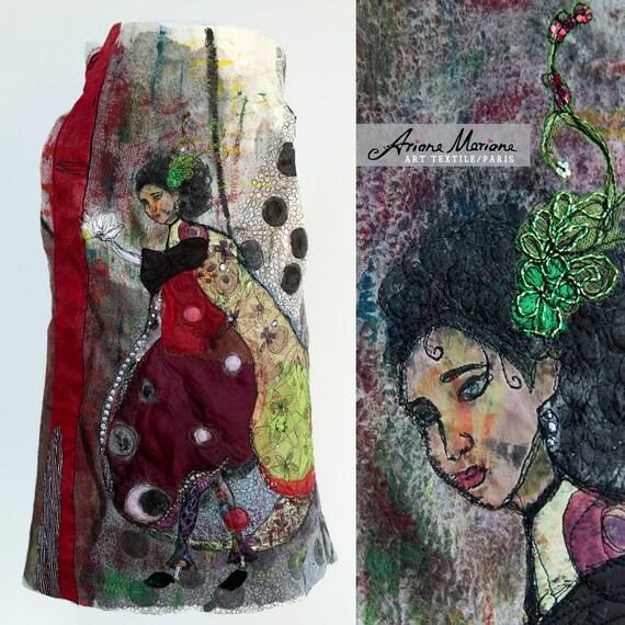 Masterpiece Wearable Art Women Vest  - Ecofriendly Slow Design Paris -  Reversible Women Vest - Fiber Art Painting Nuno Felt Embroidery