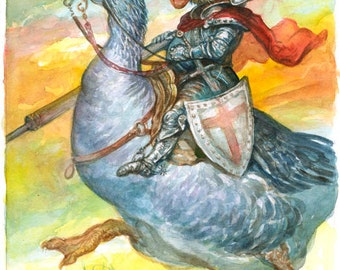 Sir Galahad on a Goose - original watercolor painting fantasy art knight