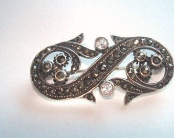 Sterlng 925  Marcasite Clear Crystal  Scroll  Flower  Brooch