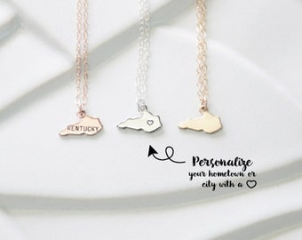 Small Gold State Charm Kentucky Necklace, United States Charm Necklaces, Tiny Kentucky State Pendant, Kentucky Heart Small State Necklace