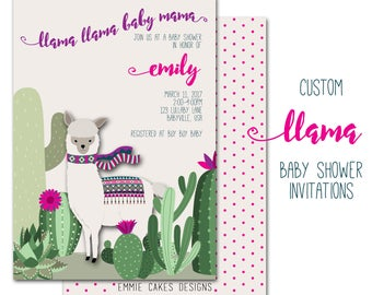 Llama Baby Shower Invitation, Custom Party Invite, Baby Boy, Girl, Personalized 5 x 7 Purple, Pink,paper and party supplies,cards,cactus