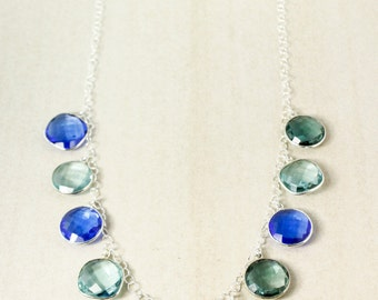Silver Teal Green Quartz & Blue Quartz Bib Necklace - Statement Necklace - Shades of Blue