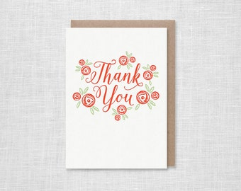 Rosette Letterpress Thank You Card