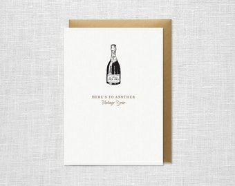 Letterpress Anniversary or Birthday Card - Vintage Year Champagne Bottle
