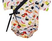 Baby Bodysuit Kimono - SUSHI FEVER - Japanese kimono onesie for baby and toddler