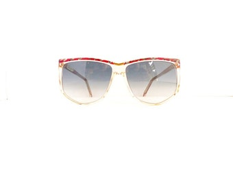 80's Charby Brand Cat Eye Sunglasses Frames Women's Vintage 1980's Clear with Red & Grey Pattern Frames NOS #M736 DIVINE
