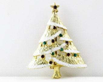Vintage Multicolored Rhinestone and Snow Christmas Tree Brooch Pin (C-1)