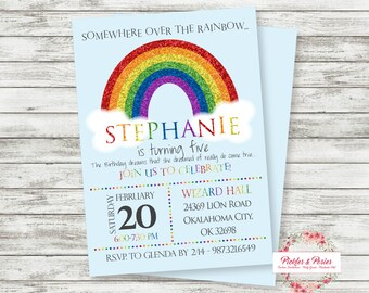 Rainbow Birthday Invitation - Rainbow Party Invitation - Rainbow Birthday Supplies - Printable - Digital File - PRINT THEM YOURSELF!