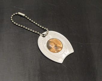 Vintage Lucky 1954D Lincoln Wheat Penny Advertising Token / Copper Cent Coin Clover Good Luck Charm Keep Me & Never Go Broke Tag Fob Pendant
