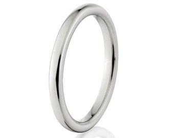 2mm Wide Titanium Ring, Comfort Fit Band - 2HR-P