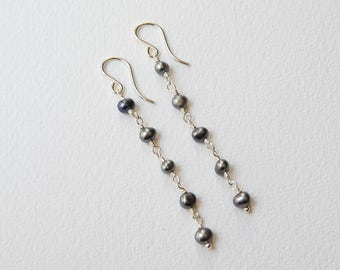 Peacock Pearl Earrings - Sterling Silver Beaded Long Earrings Rosary Dangle Earrings Bead Earrings Gray Pearls Drop Earrings