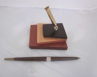 PEN HOLDER MIDCENTURY Stacked Wooden Base with pen