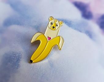 Bearnana Pin - soft enamel pin - gold plating
