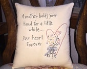 Primitive Mother's Day Mom Baby Shower Farmhouse Stitchery Embroidery  Pillow