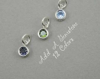 Tiny Add A Charm Birthstone - Sterling Silver Gemstone Jewelry, Gemstone Necklace, Birthstone Charms Jewelry, Birthday Necklace, Crystal