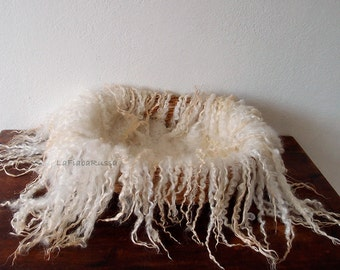 white felt fur newborn rug for newborn props, large flat curly felt fur rug, basket filler, wool fluff, NO sheepskin flokati