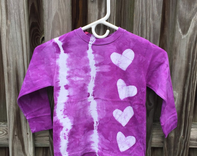 Featured listing image: Girls Tie Dye Shirt, Purple Tie Dye Shirt, Purple Heart Shirt, Girls Heart Shirt, Long Sleeve Shirt, Kids Tie Dye Shirt (4/5)