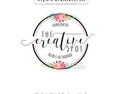 Round Logo, Floral Logo, Boutique Logo, Wreath Logo, Watercolor Logo, Business Logo, Premade Logo, Custom Logo Design, Floral Wreath Logo
