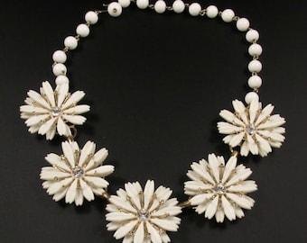 Flower Rhinestone Necklace, Flower Necklace, Milk Glass Bead Necklace, Summer Necklace, White Necklace, Unique Necklace, Statement Necklace