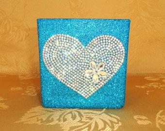 "Aqua, Peacock Blue Glittered 4"" x 4"" Square Glass Vase with Rhinestone Heart Applique, Wedding Vase, Makeup Brush Holder, Home Decor"