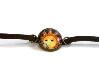 Sun Choker, Charm Choker Necklace, Brown Leather Choker, 14 inch Necklace, Cute Choker with Charm, Jewelry for Teens, Teenage Girl Gifts