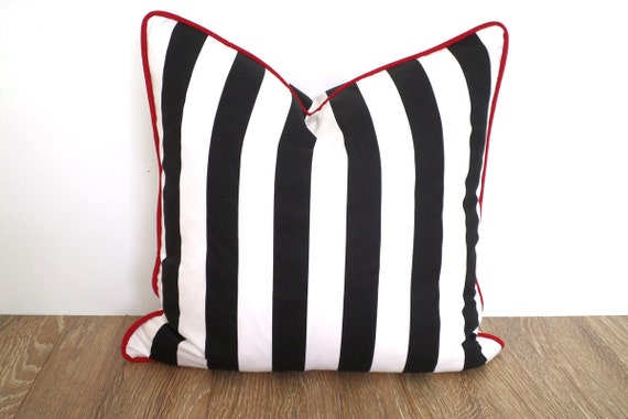 Black and white pillow cover 18x18, Christmas pillow ,canopy stripe pillow piping office decor, black and red cushion cover, gift for her