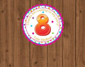 8th Birthday Favor Tag, Eighth Birthday Favor Tag, 8th Birthday Party, Girls Birthday Party Tag